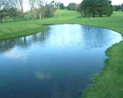 A typical manmade lake, using a liner